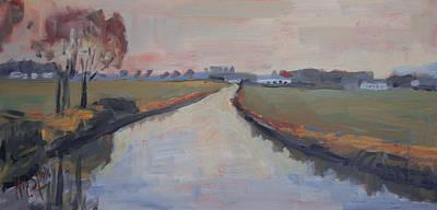 Nederland Painting - Crossing Hoofdwetering Vamerenweg by Nop Briex