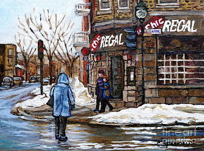 Montreal Restaurants Painting - Crossing Icy Centre Street To The Pub La Chic Regal Pointe St Charles Montreal Winter City Scene  by Carole Spandau