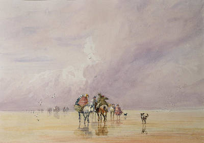 People On Beach Wall Art - Painting - Crossing Lancaster Sands by David Cox