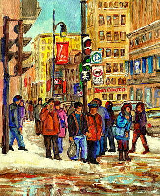 Pharmacy Painting - Crossing St Catherine Downtown Montreal Winter City Scene On Snowy Sidewalks And Icy Puddles  by Carole Spandau