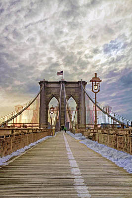 Photograph - Crossing The Brooklyn Bridge II by Jerry Gammon