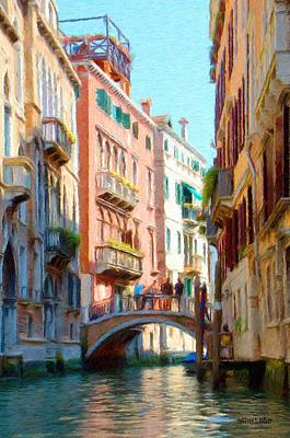 Jeff Kolker Painting - Crossing The Canal by Jeffrey Kolker
