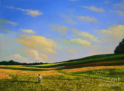 Crossing The Field Art Print