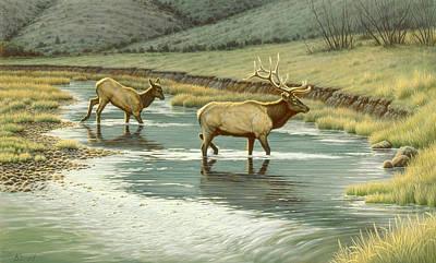Yellowstone Painting - Crossing The Gardiner by Paul Krapf