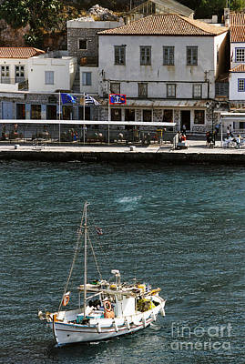 Hydra Island Photograph - Crossing The Harbour by Paul Cowan