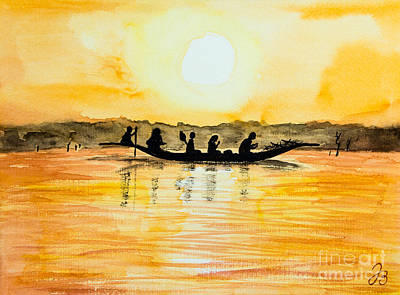 Painting - Crossing The Lake In Mali by Jutta B