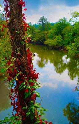 Crossing The Little Tennessee River Art Print by Robert J Sadler