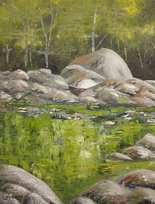 Smokey Mountains Painting - Crossing The River Rocks by Ralph Loffredo