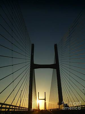 Print featuring the photograph Crossing The Severn Bridge At Sunset - Cardiff - Wales by Vicki Spindler