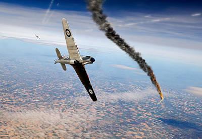 Digital Art - Crossing The Siegfried Line Raf Hurricane And Luftwaffe Bf109 Dogfight by Gary Eason