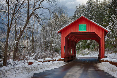 Photograph - Crossing Through The Upper Cox Brook Covered Bridge by Jeff Folger