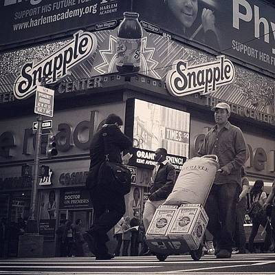 Instacnvs Photograph - Crossing Times Sq. - Ny by Joel Lopez
