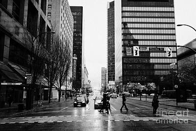 crosswalk at west georgia and hornby downtown in the rain Vancouver BC Canada Print by Joe Fox