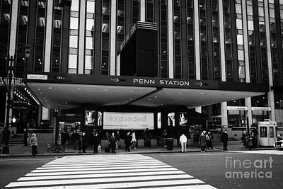 Crosswalk Leading To Penn Station And Madison Square Garden Seventh Avenue New York Print by Joe Fox