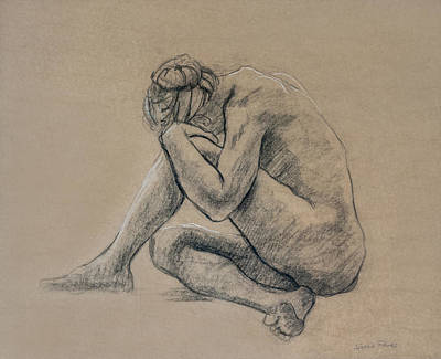 Brown Toned Art Drawing - Crouched by Sarah Parks