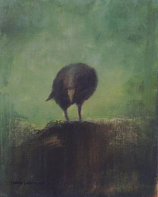 Mystical Landscape Painting - Crow 12 by David Ladmore