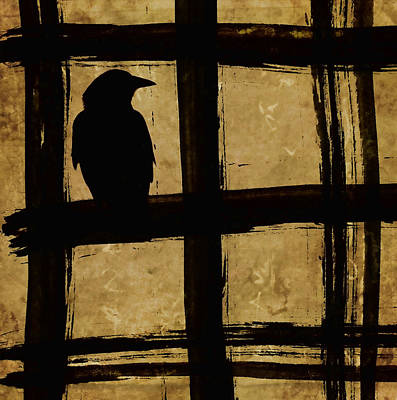 Crow And Golden Light Number 1 Art Print by Carol Leigh