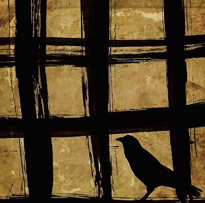 Montage Photograph - Crow And Golden Light Number 2 by Carol Leigh