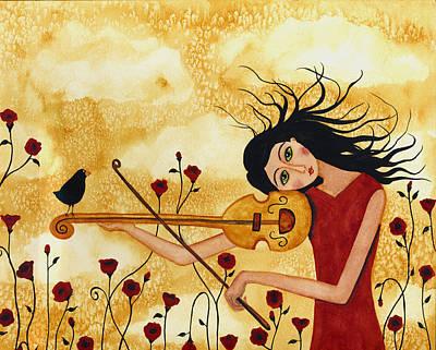 Crow. Bird Music Painting - Crow Bird Blackbird Raven Music  Violin Floral Poppy  Whimsical Folk Debi Hubbs Children Art by Debi Hubbs