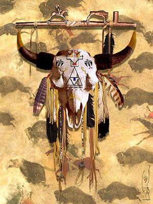 Painted Buffalo Skull Mixed Media - Crow Buffalo Skull by R Mark Heath