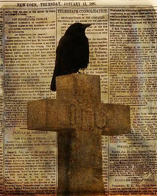 Crow Collage Art Print by Gothicrow Images
