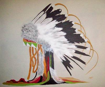 Charlie Brown Painting - Crow Eagle -feather Warbonnet by Charlie Brown