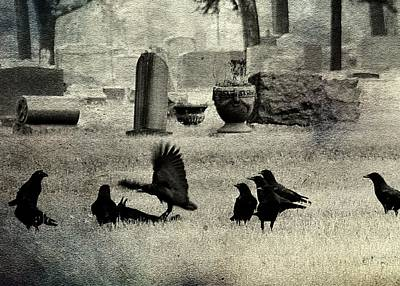 Birds In Graveyard Photograph - Crow Fight by Gothicrow Images
