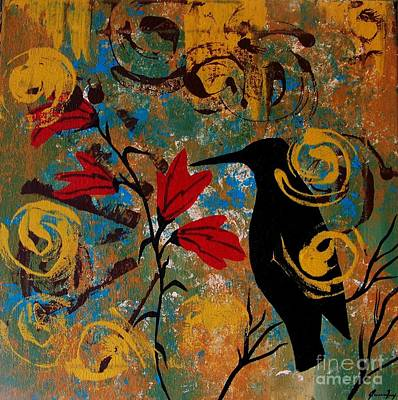 Painting - Crow Healing In The Ancient Garden by Jean Fry