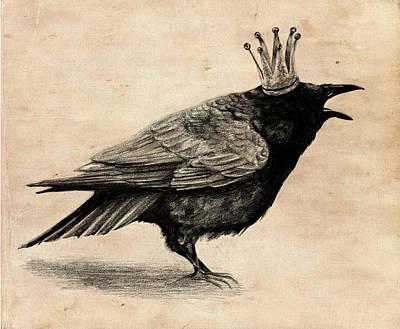 Thief Digital Art - Crow In Crown by Anna Shell