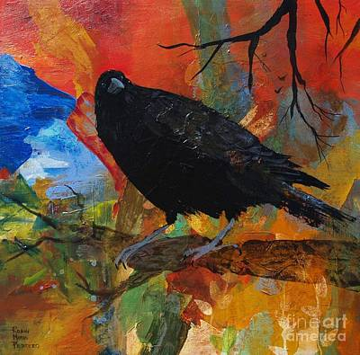 Painting - Crow On A Branch by Robin Maria Pedrero