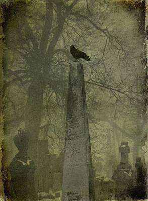 Birds In Graveyard Photograph - Crow On Spire by Gothicrow Images