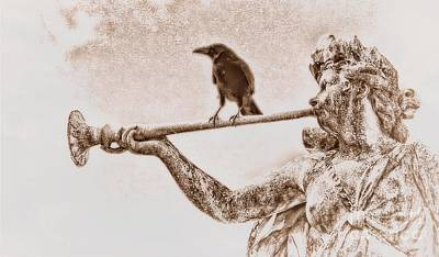 Carrara Marble Wall Art - Photograph - Crow On Trumpet by Henry Kowalski