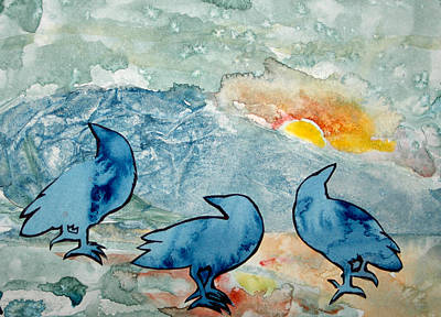 Painting - Crow Series 4 by Helen Klebesadel