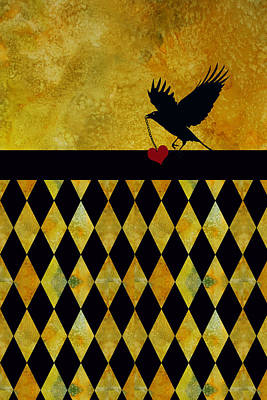Art Deco Mixed Media - Crow Stole My Heart On Golden Diamonds by Jenny Armitage