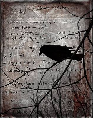 Crow Thoughts Collage Art Print by Gothicrow Images