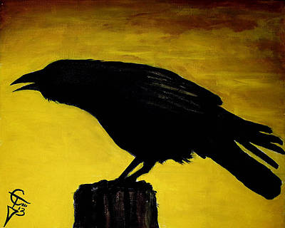 Crows Painting - Crow by Tom Carlton