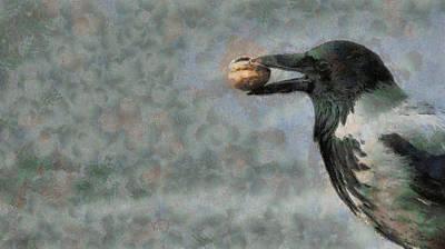 Bird Painting - Crow With Walnut by Georgi Dimitrov