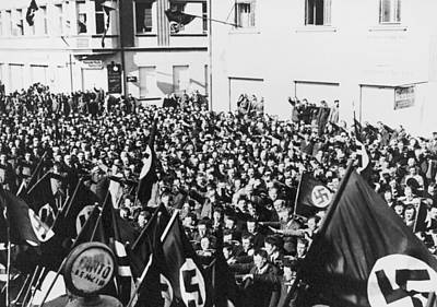 Nazi Party Photograph - Crowd In Oberwart, Austria, Saluting by Everett