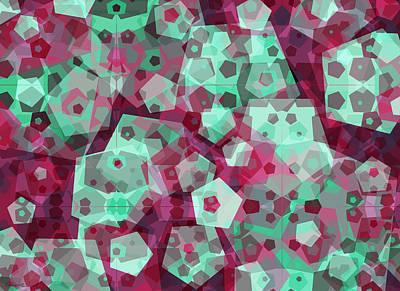 Green Surreal Geometry Digital Art - Crowd Of Pentagons by Shawna Rowe