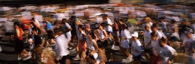 Crowd Participating In A Marathon Race Art Print by Panoramic Images