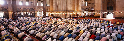 Midday Photograph - Crowd Praying In A Mosque, Suleymanie by Panoramic Images