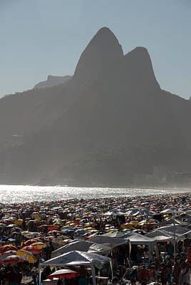 Ipanema Beach Photograph - Crowded Ipanema Beach Scene, Rio De by Kevin Berne
