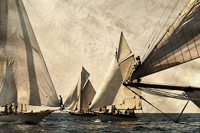 A Vintage Processed Image Of A Sail Race In Port Mahon Menorca - Crowded Sea Art Print by Pedro Cardona