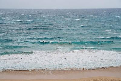 Photograph - Crowded Surfers Riding Oahu Island Beach Waves by Marek Poplawski