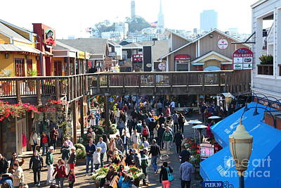Sight Seeing San Francisco Photograph - Crowds At Pier 39 San Francisco California 5d26093 by Wingsdomain Art and Photography