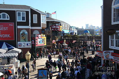 Sight Seeing San Francisco Photograph - Crowds At Pier 39 San Francisco California 5d26127 by Wingsdomain Art and Photography