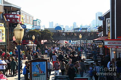 Sight Seeing San Francisco Photograph - Crowds At Pier 39 San Francisco California 5d26134 by Wingsdomain Art and Photography