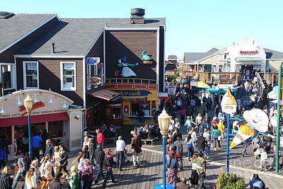Sight Seeing San Francisco Photograph - Crowds At Pier 39 San Francisco California 5d26135 by Wingsdomain Art and Photography
