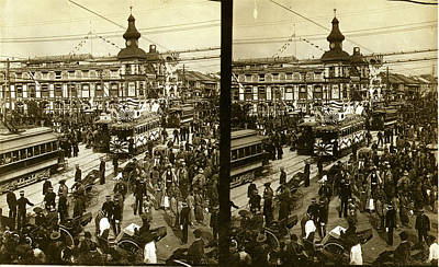 Tokyo Drawing - Crowds On A Tokyo Street, Near The Train Station by Litz Collection