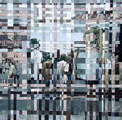 Crowd Scene Mixed Media - Crowds Woven by Rose Wark